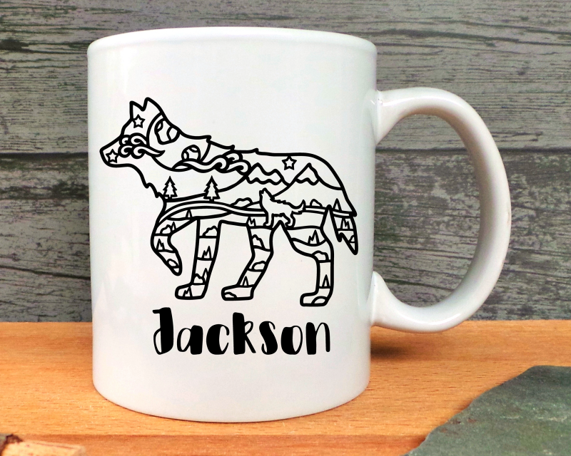 Wolf Personalised Ceramic Mug Gifting Moon