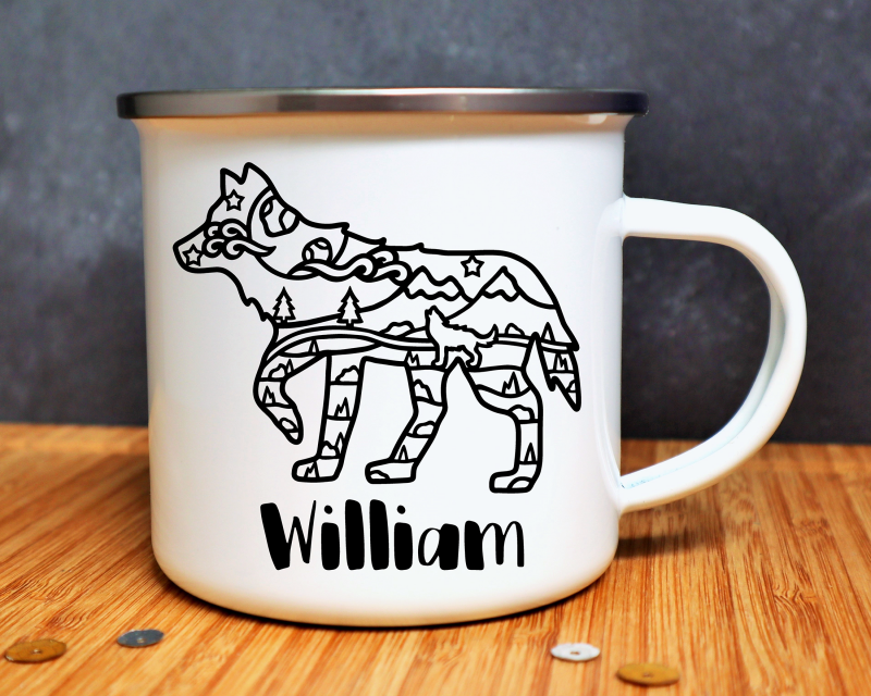 Wolf Personalised Enamel Mug Gifting Moon