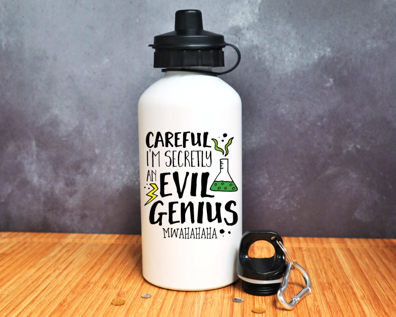 Careful I'm Secretly An Evil Genius Water Bottle Gifting Moon