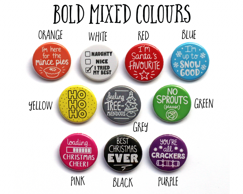 Bold Mixed Colours Christmas Badges