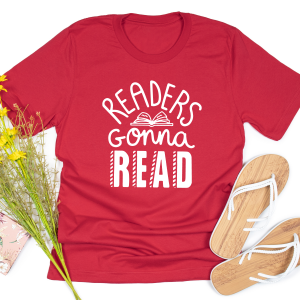 Readers Gonna Read Red T Shirt Square Gifting Moon