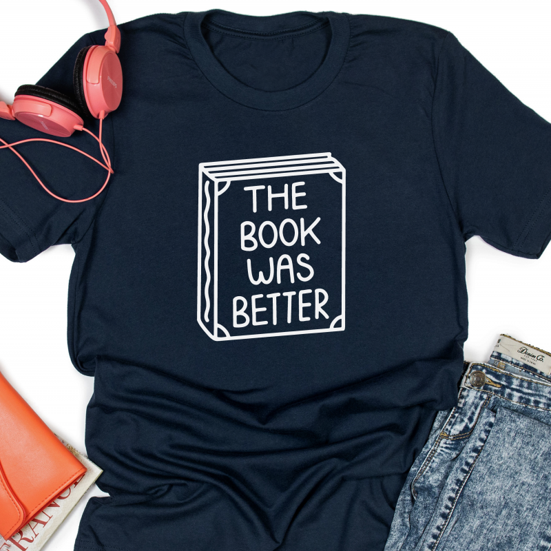 The Book Was Better Navy T Shirt square Gifting Moon